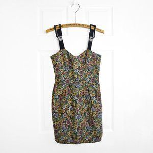 BCBGeneration Brocade Bustier Dress Floral Print